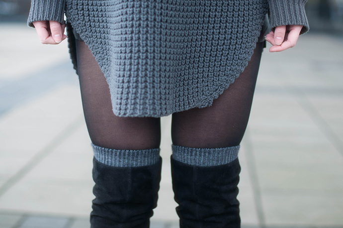 RED REIDING HOOD: Fashion blogger wearing otk boots over the knee socks outfit details hope grand sweater dress chunky knit heavy knitted