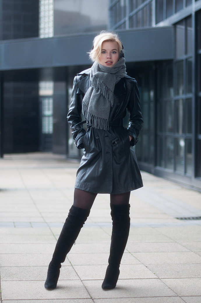 RED REIDING HOOD: Fashion blogger wearing leather trench coat outfit acne canada wool scarf over the knee boots duo boots vespa