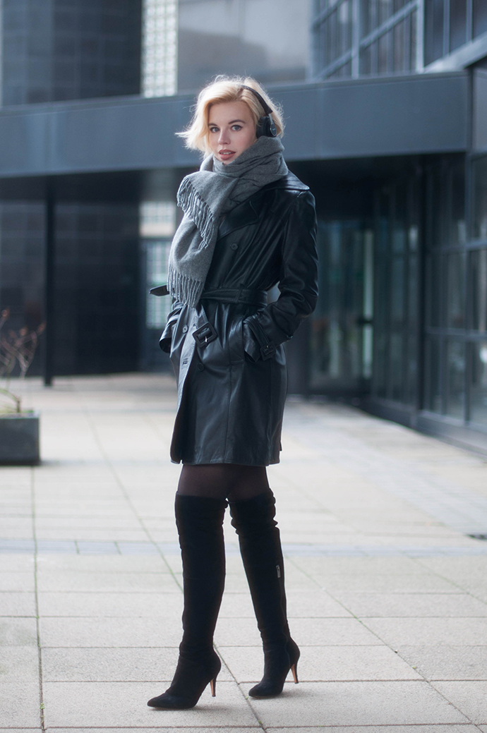 RED REIDING HOOD: Fashion blogger wearing acne canada wool scarf outfit black leather trench coat over the knee boots otk outfit