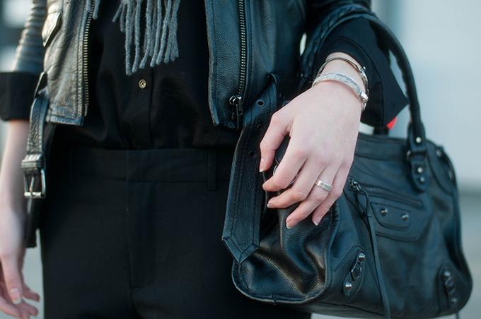 RED REIDING HOOD: Fashion blogger wearing KO designer balenciaga motorcycle bag leather jacket outfit details