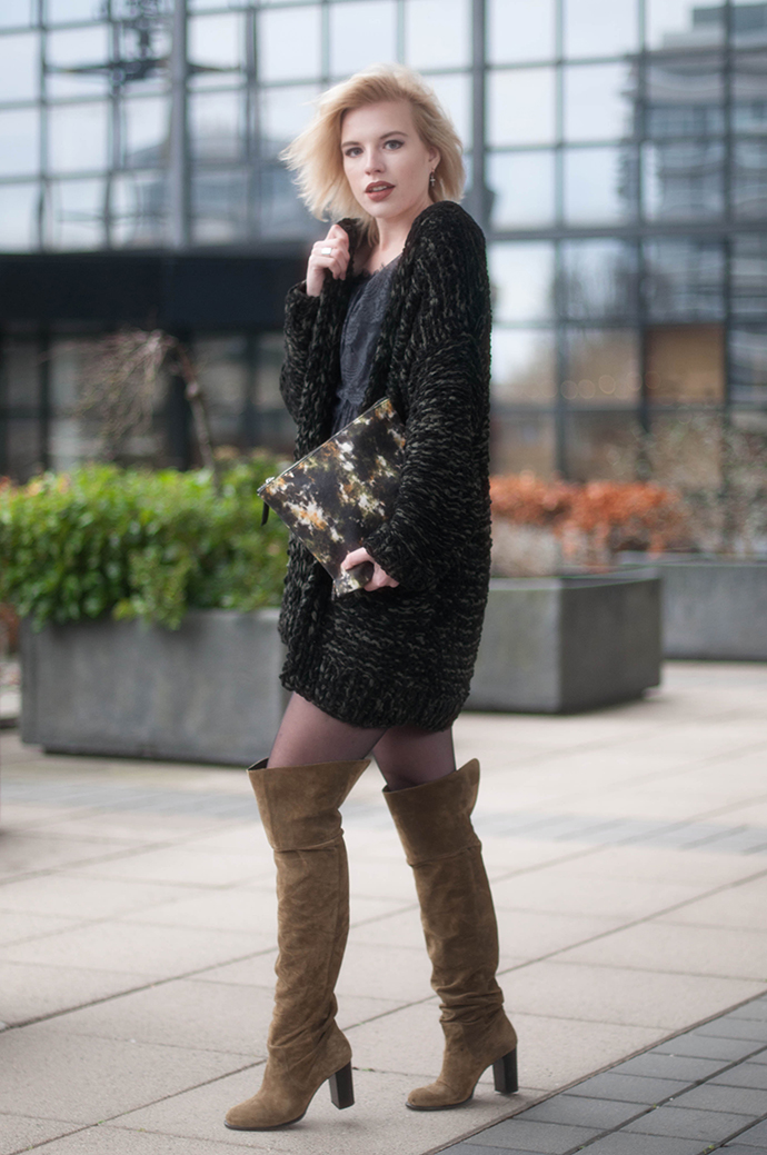 RED REIDING HOOD: Fashion blogger wearing topshop control over the knee boots outfit chunky knit cardigan