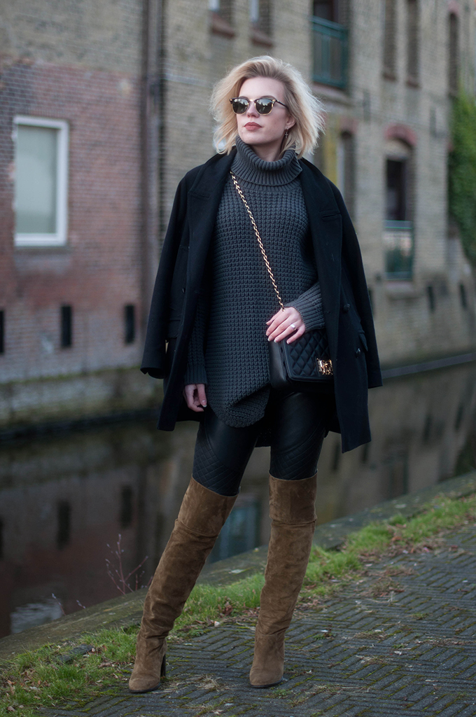 RED REIDING HOOD: Fashion blogger wearing Topshop control over the knee boots street style hope grand sweater elin kling love moschino bag leather pants