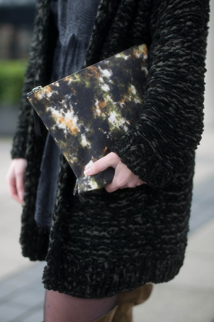 RED REIDING HOOD: Fashion blogger wearing heavy knit cardigan outfit watercolor american vintage clutch