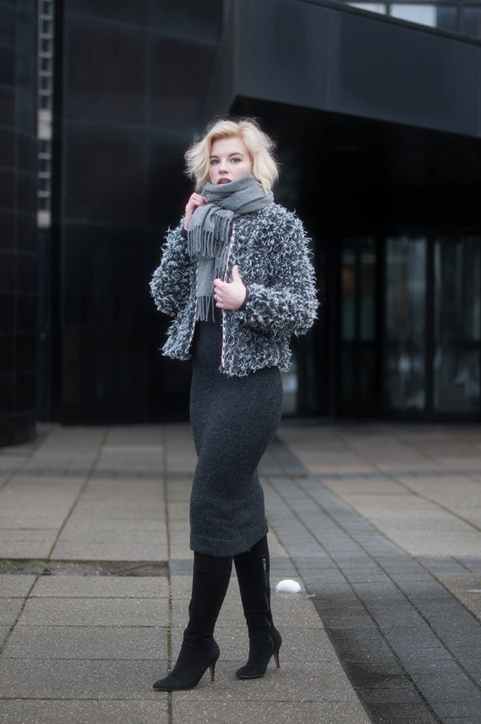 RED REIDING HOOD: Fashion blogger wearing midi asymmetric knit dress Zara fluffy jacket otk boots acne studios canada wool scarf outfit