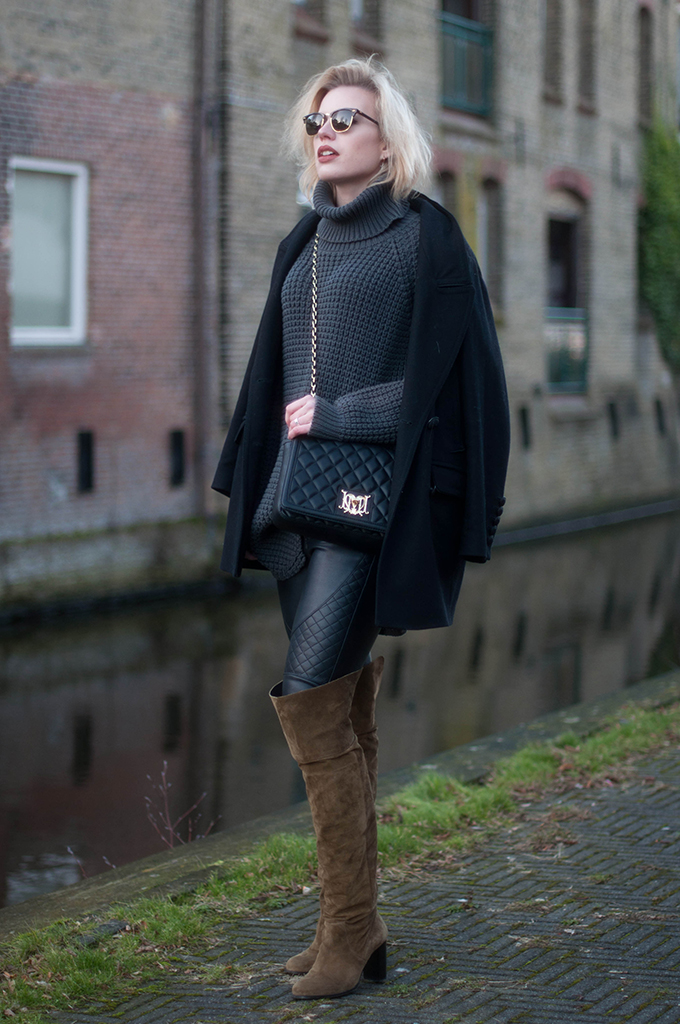 RED REIDING HOOD: Fashion blogger wearing hope grand sweater street style cocoon coat drykorn outfit topshop over the knee boots