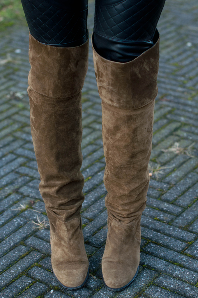 RED REIDING HOOD: Fashion blogger wearing Topshop control over the knee boots suede outfit details