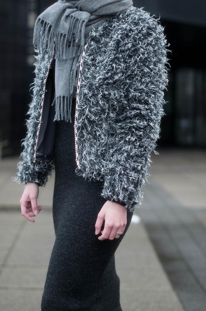 RED REIDING HOOD: Fashion blogger wearing acne canada wool scarf outfit details fluffy jacket fur coat asymmetrical zara midi knit dress