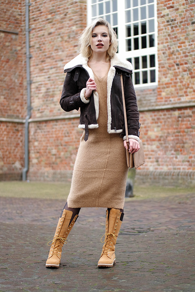 RED REIDING HOOD: Fashion blogger wearing 14 inch Timberland boots outfit mohair midi dress Asos street style aviator shearling coat outfit