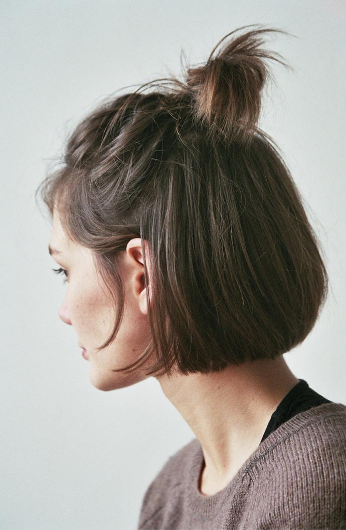 RED REIDING HOOD: Half up top knot short hair viking hair style hairdo inspiration
