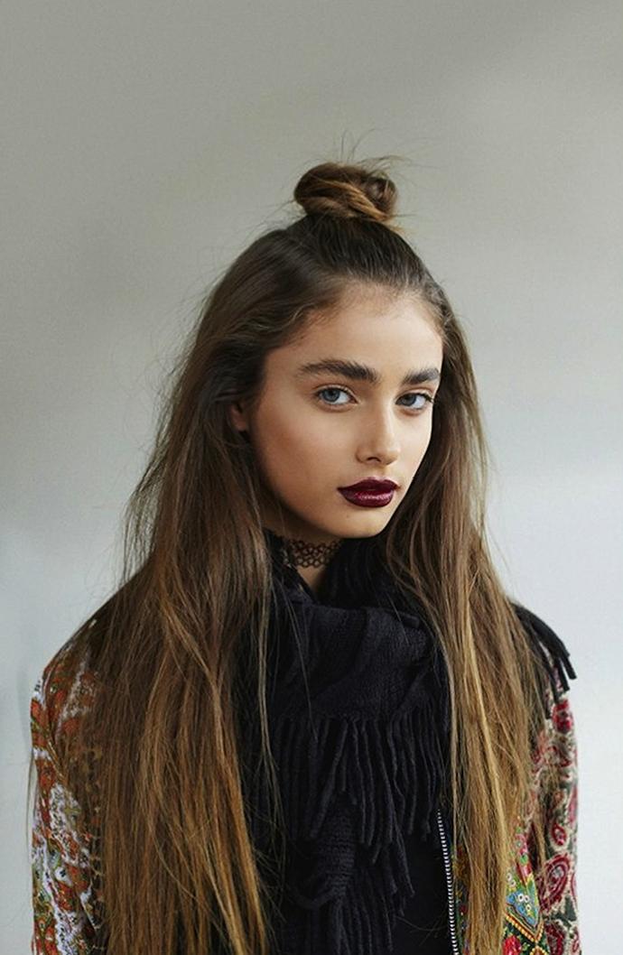 RED REIDING HOOD: Half up top knot viking long hippie hair style hairdo inspiration model
