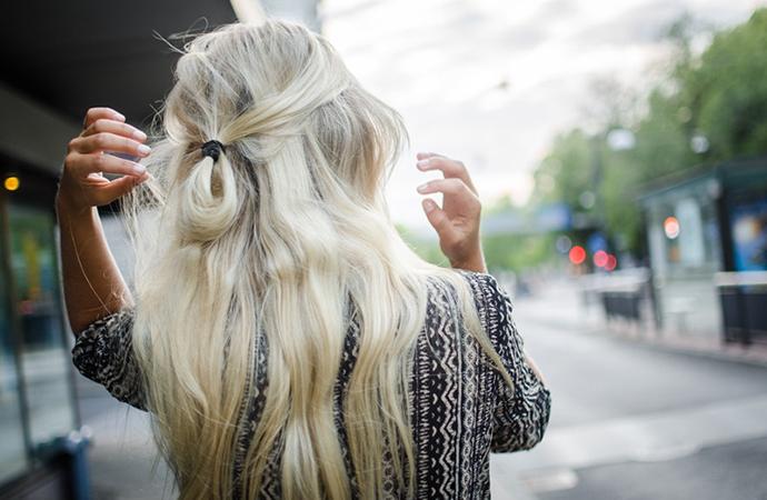 RED REIDING HOOD: Half up top knot viking platinum light blonde hair style hairdo inspiration