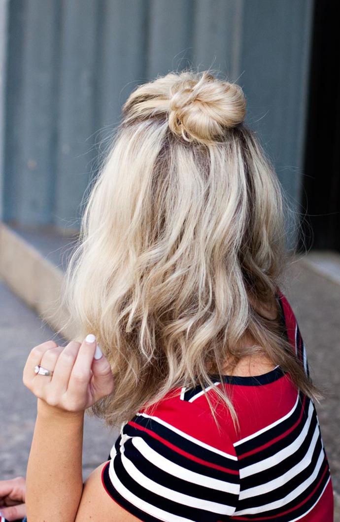 RED REIDING HOOD: Half up top knot viking hair style hairdo inspiration