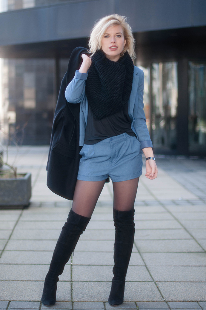 RED REIDING HOOD: Fashion blogger wearing denim suit blue smart shorts outfit over the knee boots duo boots vespa street style