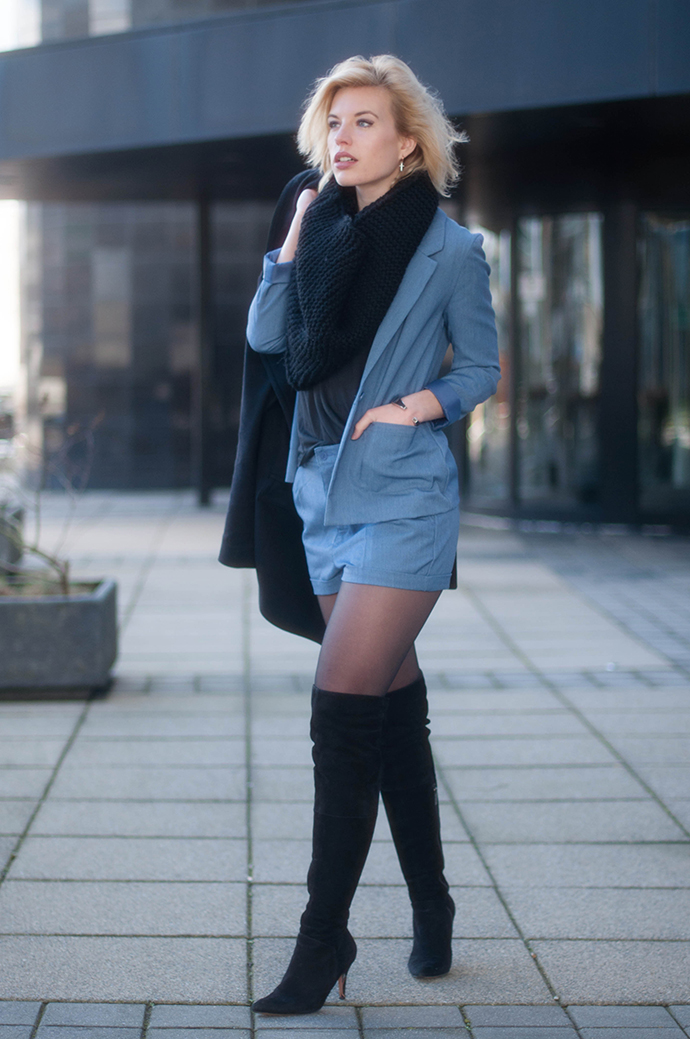 RED REIDING HOOD: Fashion blogger wearing over the knee boots thigh high duo boots vespa outfit acne denim suit elin kling