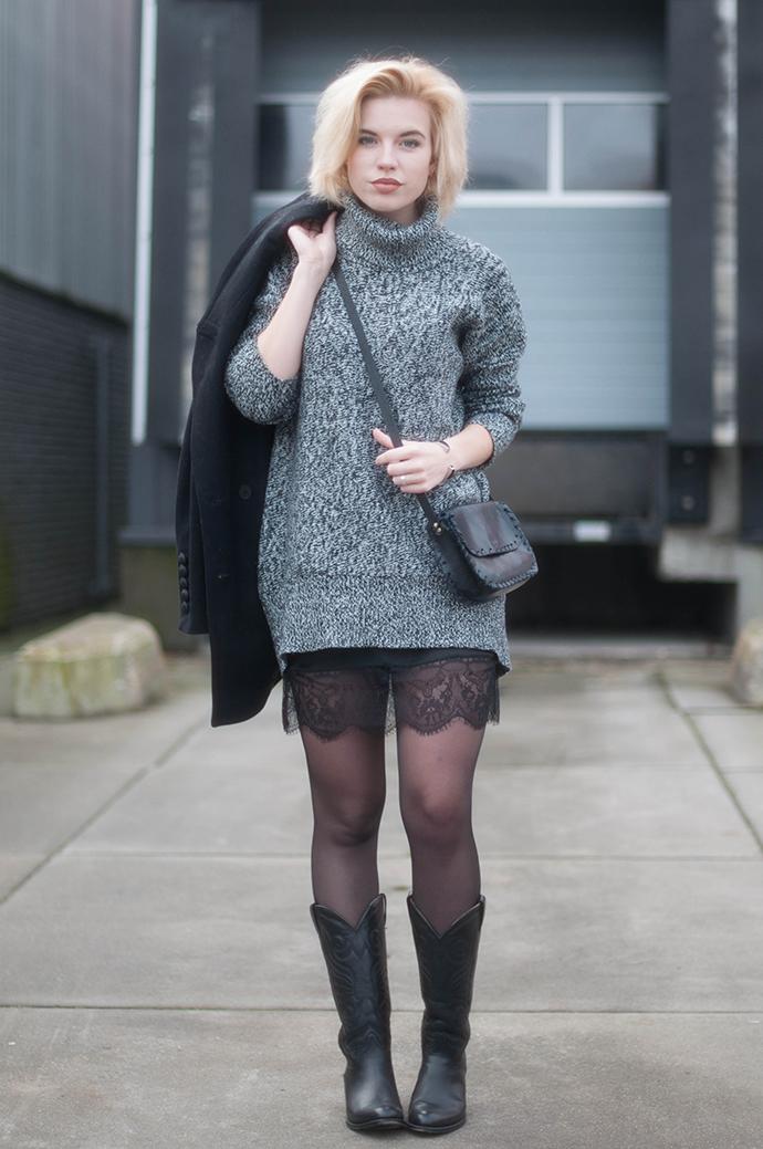 RED REIDING HOOD: Fashion blogger wearing sendra cowboy boots street style knitwear turtleneck knit dress lace hem outfit