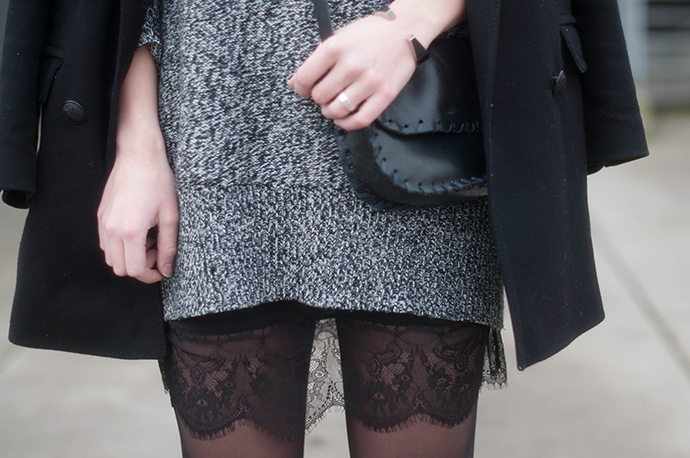 RED REIDING HOOD: Fashion blogger wearing knit dress lace dress outfit details cocoon coat tights