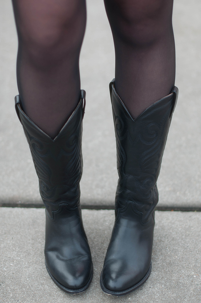 RED REIDING HOOD: Fashion blogger wearing sendra cowboy western boots outfit details tights