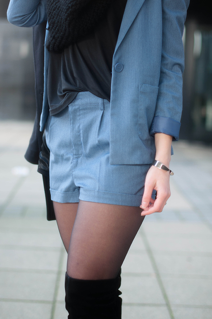 RED REIDING HOOD: Fashion blogger wearing acne denim suit ko H&M trend outfit details