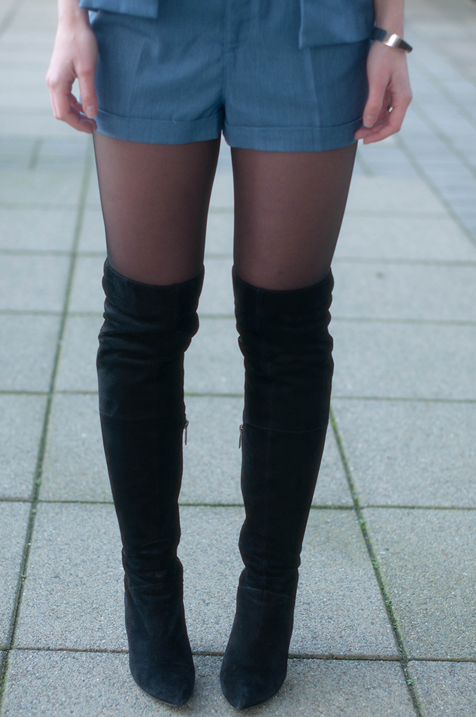 RED REIDING HOOD: Fashion blogger wearing denim suit shorts over the knee boots outfit details