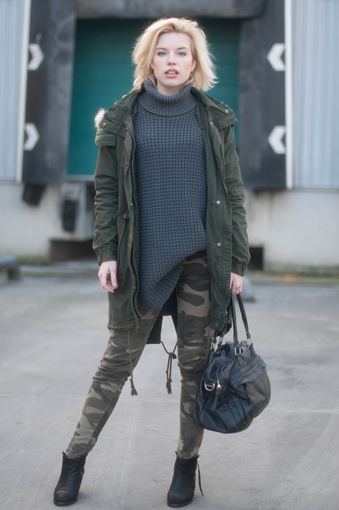 RED REIDING HOOD: Fashion blogger wearing monki parka outfit camo jeans hope grand sweater turtleneck pistol boots