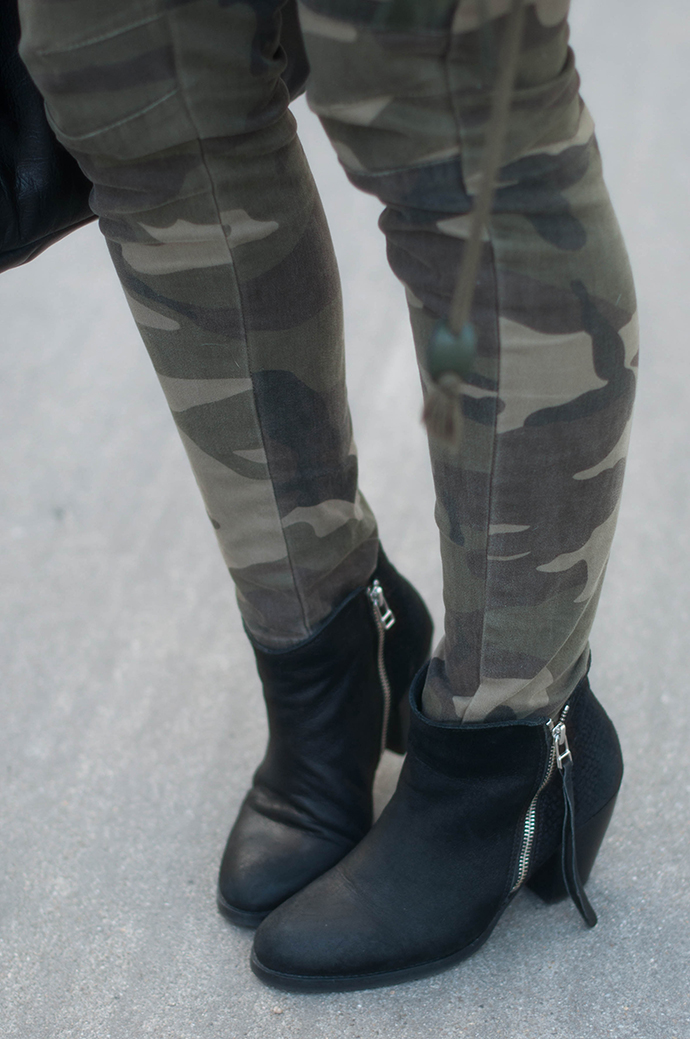 RED REIDING HOOD: Fashion blogger wearing acne pistol boots ko sacha shoes outfit details camo pants