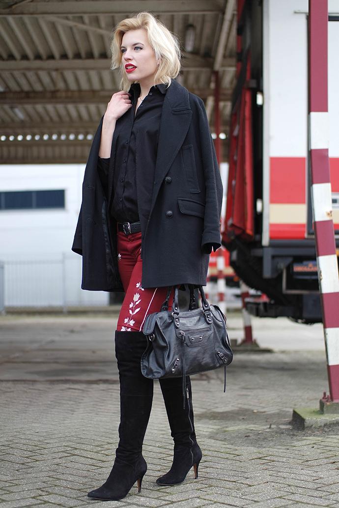 RED REIDING HOOD: Fashion blogger wearing balenciaga motorcycle bag over the knee boots duo boots vespa isabel marant pants ko