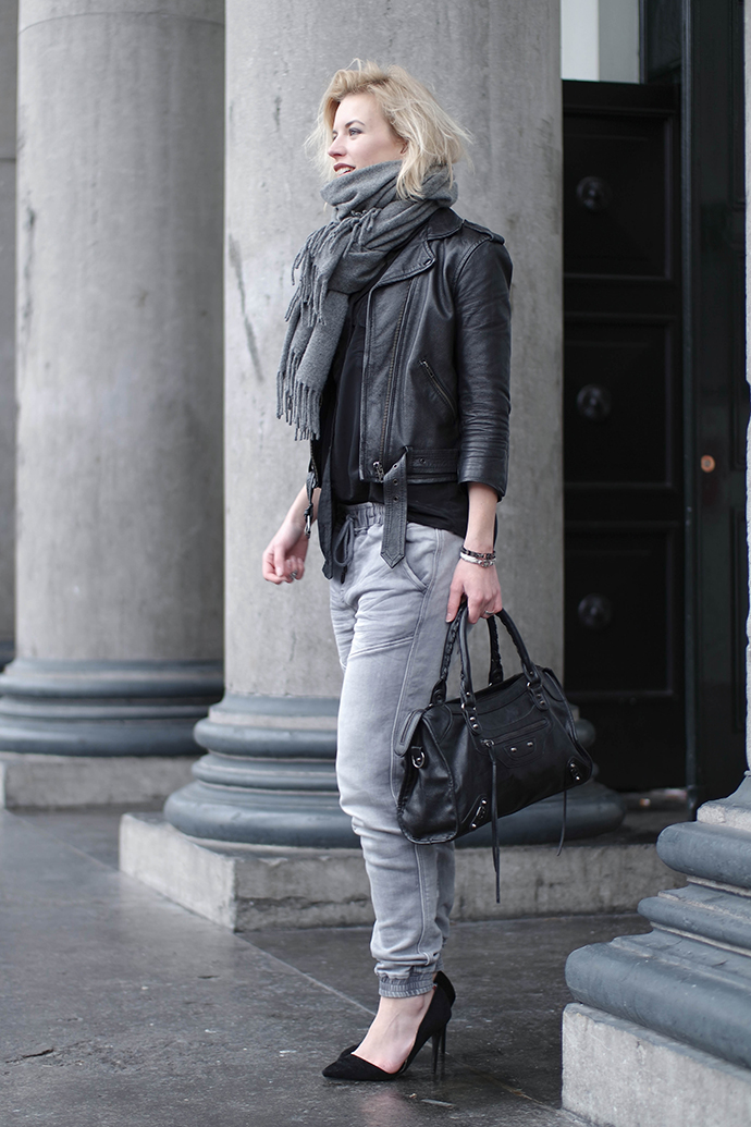 RED REIDING HOOD: Fashion blogger wearing leather jacket acne studios canada wool scarf outfit baggy jeans heels balenciaga motorcycle bag