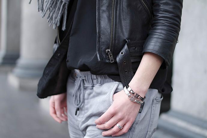 RED REIDING HOOD: Fashion blogger wearing leather jacket straps outfit details bandhu bracelets drawstring jogging sweatpants