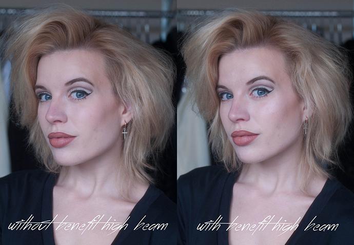 RED REIDING HOOD: Benefit Cosmetics high beam review liquid highlighter illuminator swatch full face look before after photos