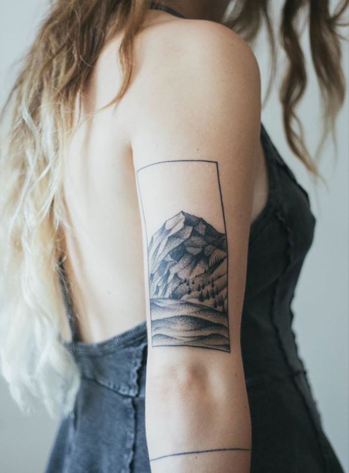 RED REIDING HOOD: Mountains tattoo arm ink inspiration
