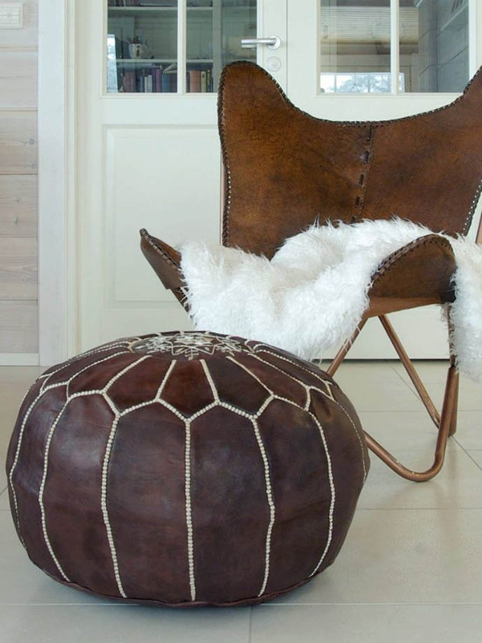 RED REIDING HOOD: Pinterest interior inspiration home living room moroccan pouf brown leather oriental