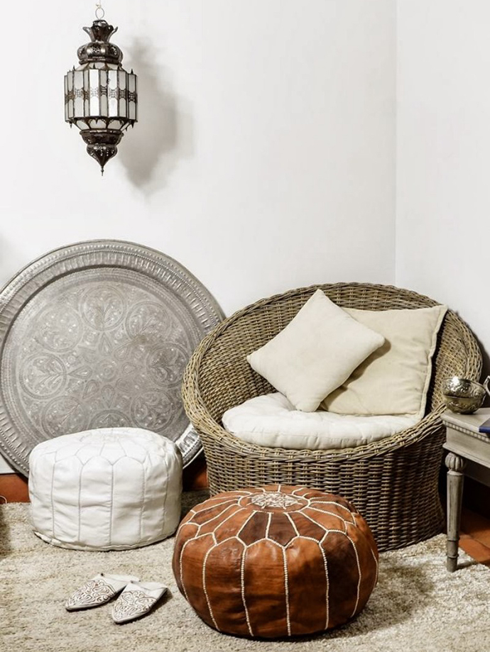 RED REIDING HOOD: Pinterest interior inspiration home living room moroccan pouf brown tan leather oriental