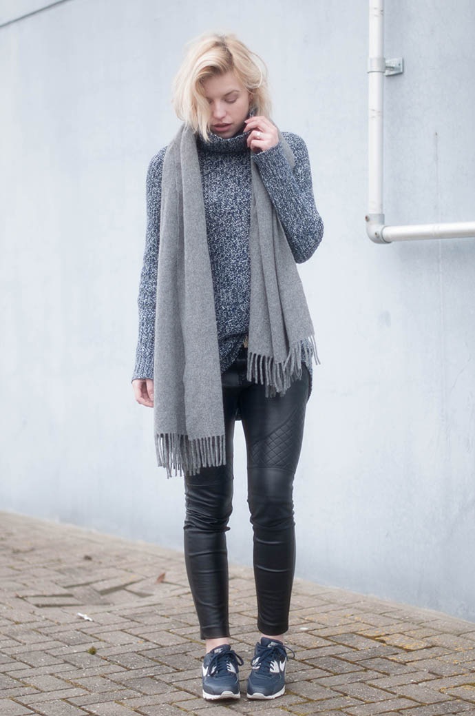 RED REIDING HOOD: Fashion blogger wearing faux leather pants outfit nike air max 90 essential sneakers chunky knit turtleneck acne canada wool scarf