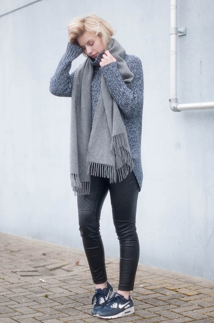RED REIDING HOOD: Fashion blogger wearing acne canada wool scarf outfit leather pants nike air max sneakers turtleneck