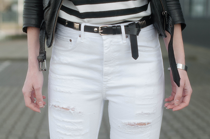 RED REIDING HOOD: Fashion blogger wearing white tall ripped jeans high waisted denim leather biker jacket outfit