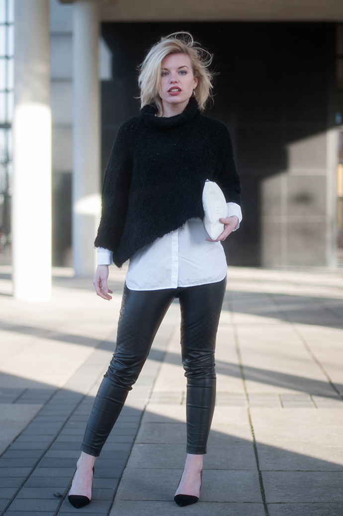 RED REIDING HOOD: Fashion blogger wearing white text clutch zara stressed but well dressed outfit faux leather pants cropped turtleneck fluffy jumper