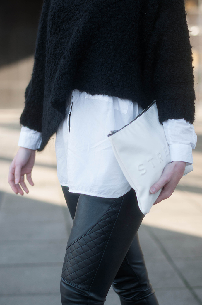 RED REIDING HOOD: Fashion blogger wearing cropped fluffy jumper zara oversized white shirt stressed but well dressed zara faux leather pants outfit details
