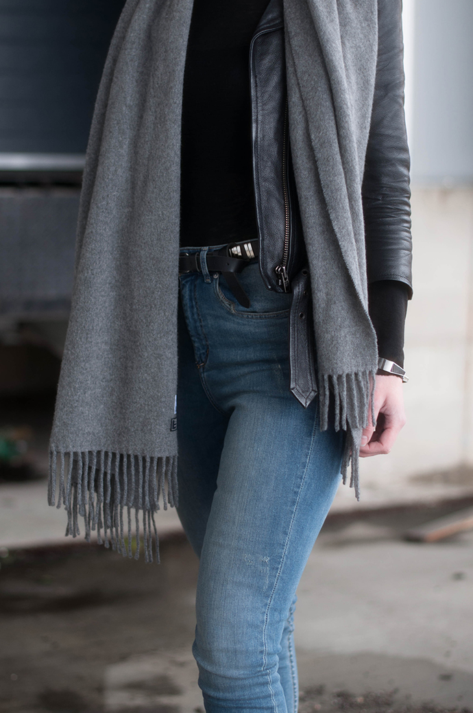 RED REIDING HOOD: Fashion blogger wearing high waisted jeans H&M acne studios scarf leather jacket outfit details