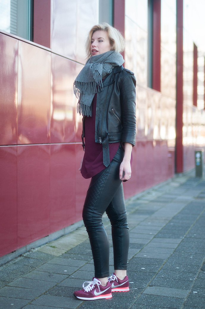 RED REIDING HOOD: Fashion blogger wearing faux leather pants outfit acne studios canada wool scarf nike runned md sneakers
