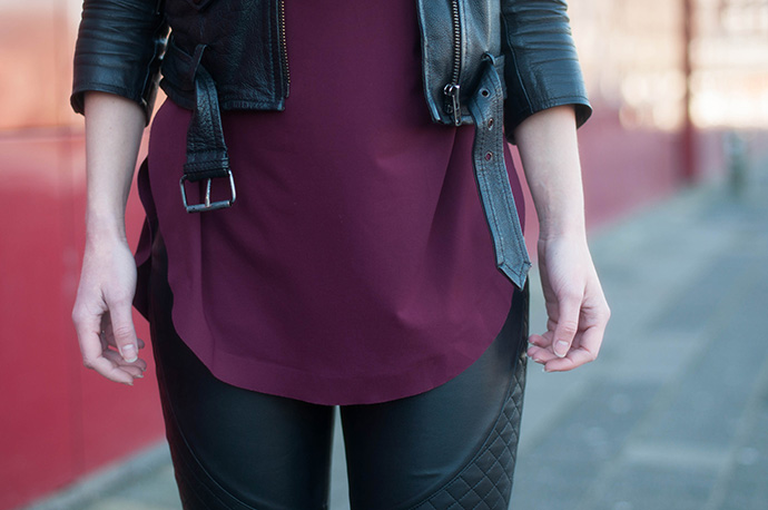 RED REIDING HOOD: Fashion blogger wearing burgundy top leather jacket faux leather biker pants outfit details