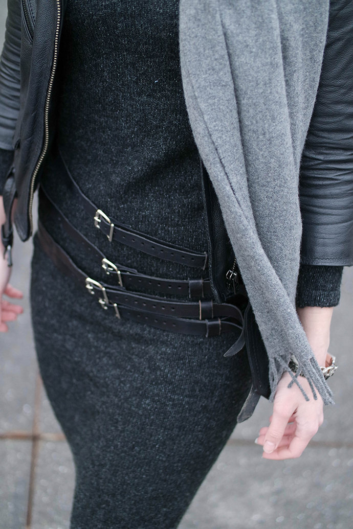RED REIDING HOOD: Fashion blogger wearing leather waist belt straps knit midi dress acne canada wool scarf leather jacket outfit details