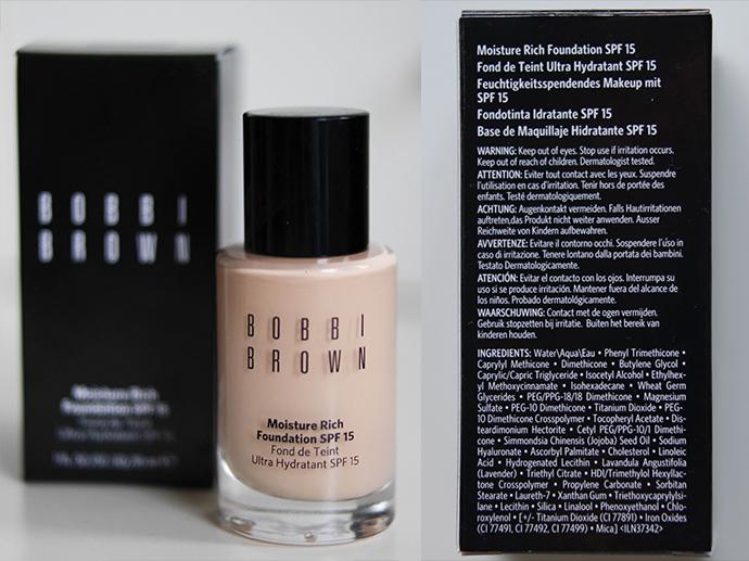 RED REIDING HOOD: Beauty blogger review bobbi brown moisture rich foundation spf 15 fair light dry skin swatch packaging ingredients