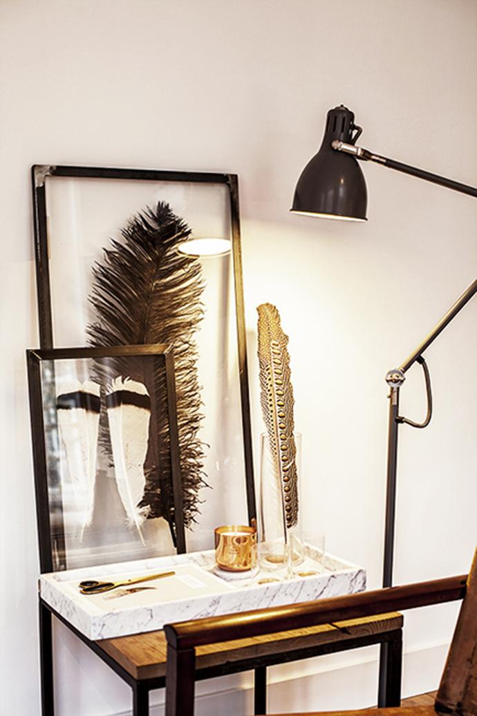 RED REIDING HOOD: Home blogger desk framed feathers DIY inspiration interior idea