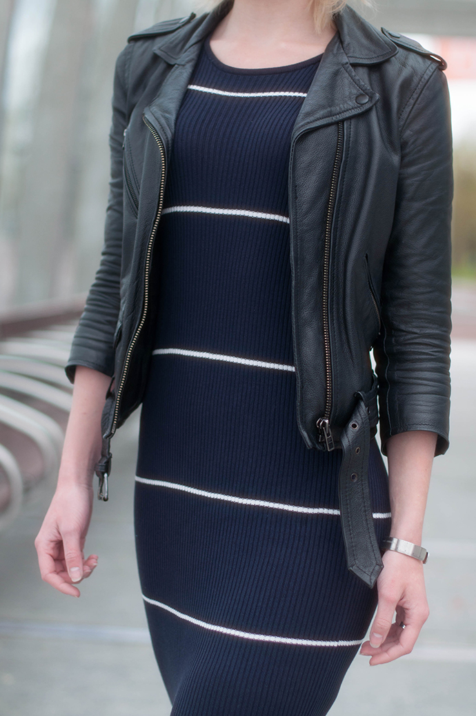RED REIDING HOOD: Fashion blogger wearing mango striped rib midi dress strappy leather jacket outfit details
