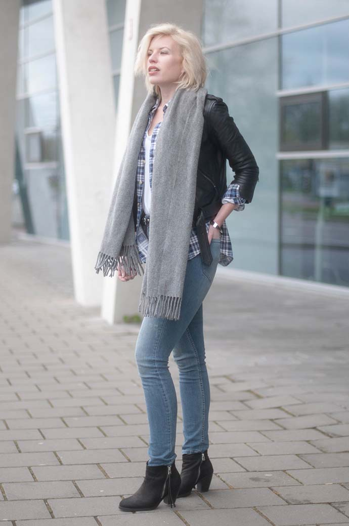 RED REIDING HOOD: Fashion blogger wearing leather biker jacket outfit high waisted jeans H&M vintage check shirt