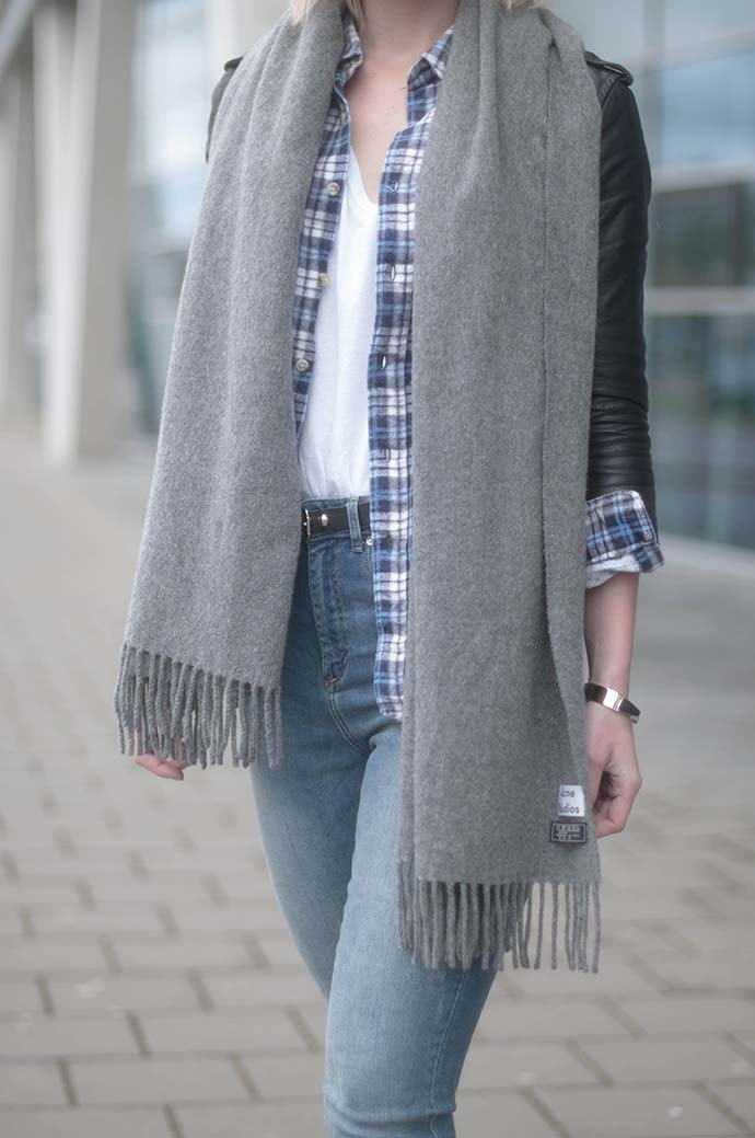 RED REIDING HOOD: Fashion blogger wearing acne studios canada wool scarf vintage check shirt outfit details high waisted jeans