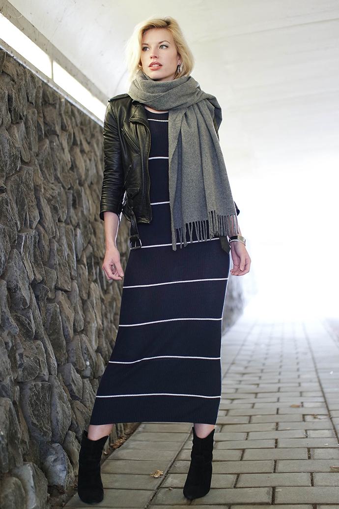 RED REIDING HOOD: Fashion blogger wearing maxi midi rib dress Mango leather jacket H&M acne studios canada wool scarf outfit