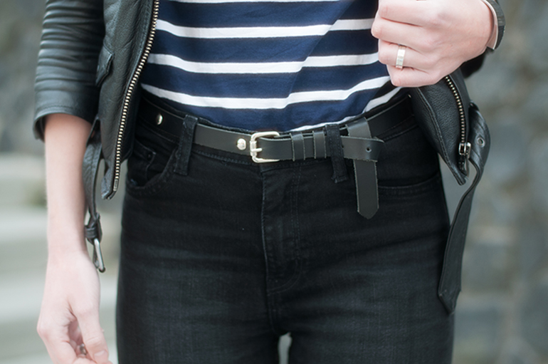 RED REIDING HOOD: Fashion blogger wearing high waist jeans weekday thursday black denim leather jacket outfit details