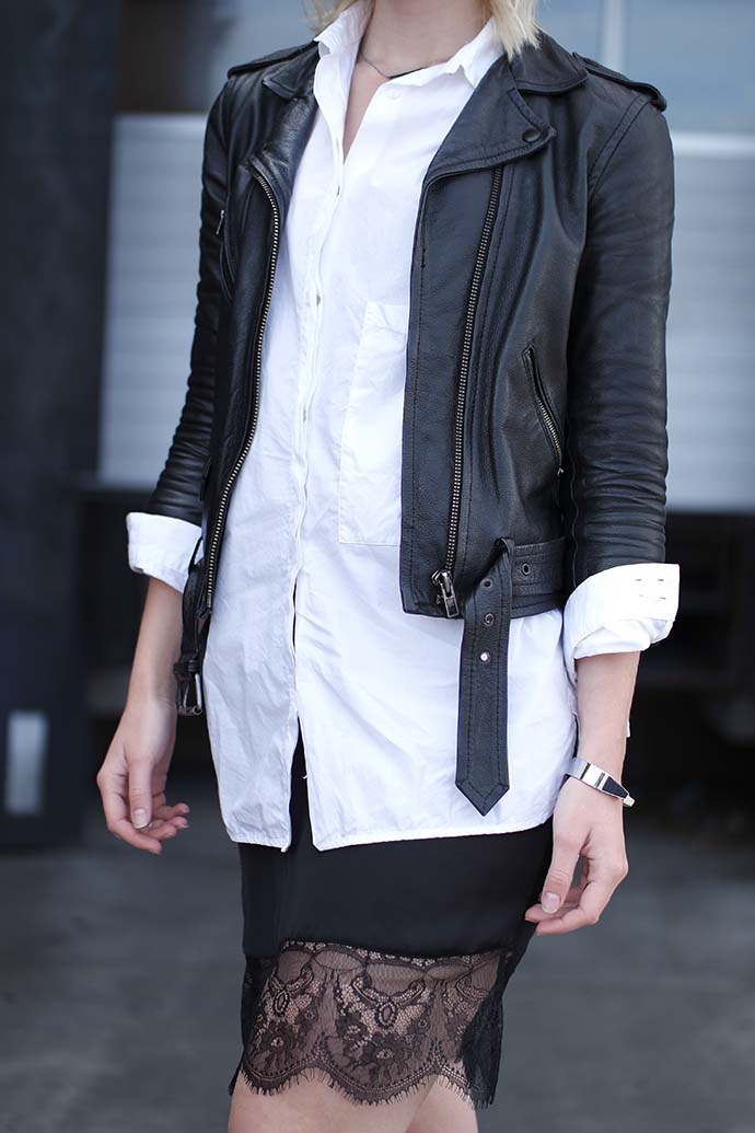 RED REIDING HOOD: Fashion blogger wearing lace slip dress leather strappy jacket outfit details