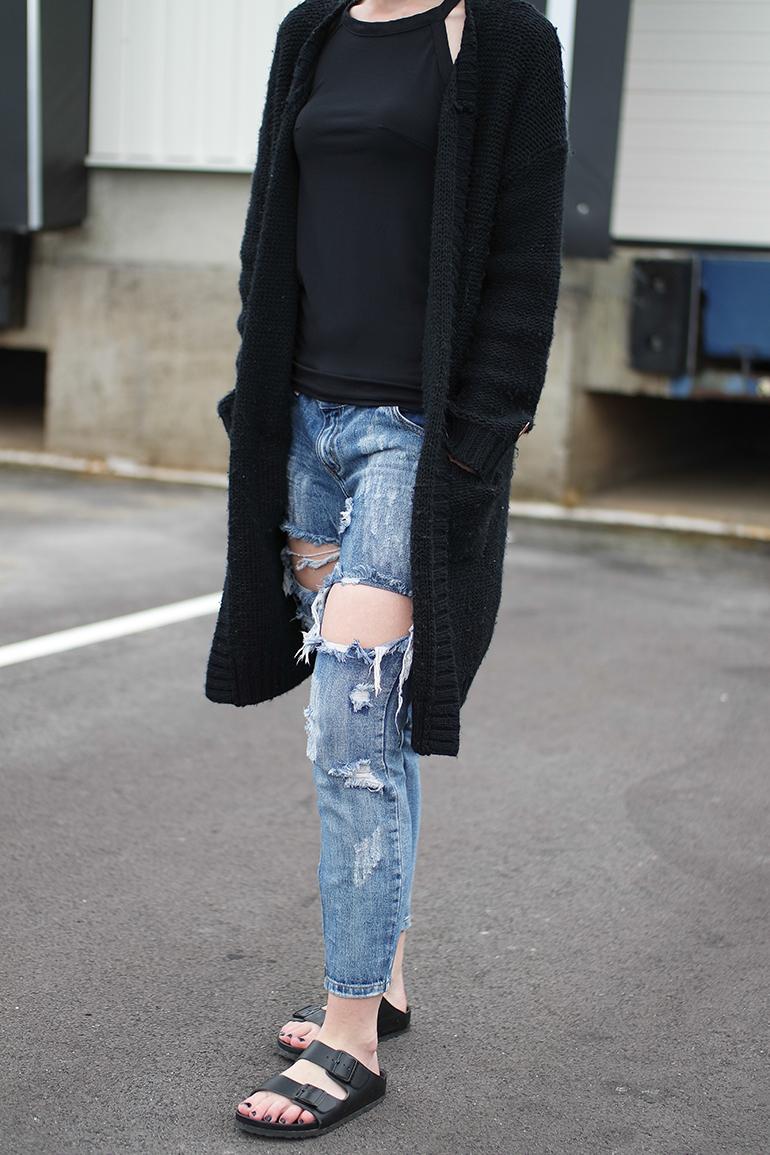 RED REIDING HOOD: Fashion blogger wearing one teaspoon trashed freebird jeans heavy knit cardigan birkenstock monterey slides outfit details